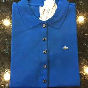 NWT Lacoste Women's Olympic Blue Stretch Polo